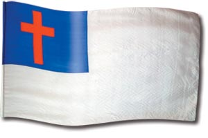 "The design ""Christian Flag"" in hand crafted silk"