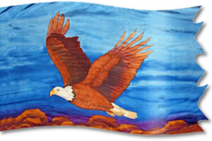 "The design ""Eagle - Ascending"" in hand crafted silk"
