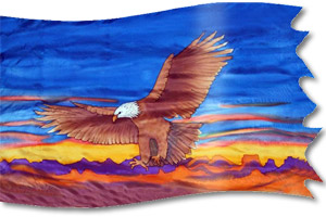 "The design ""Eagle - Descending in War"" in hand crafted silk"