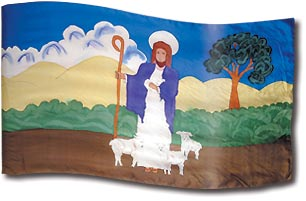 "The design ""The Good Shepherd"" in hand crafted silk"