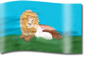 "The design ""The Lion and The Lamb"" in hand crafted silk"